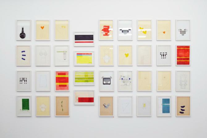 Installationsansicht, Papierarbeiten, 1990 - 1994, 30 x 20 cm