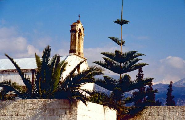 Kreta Kirchturm Schneegipfel-600