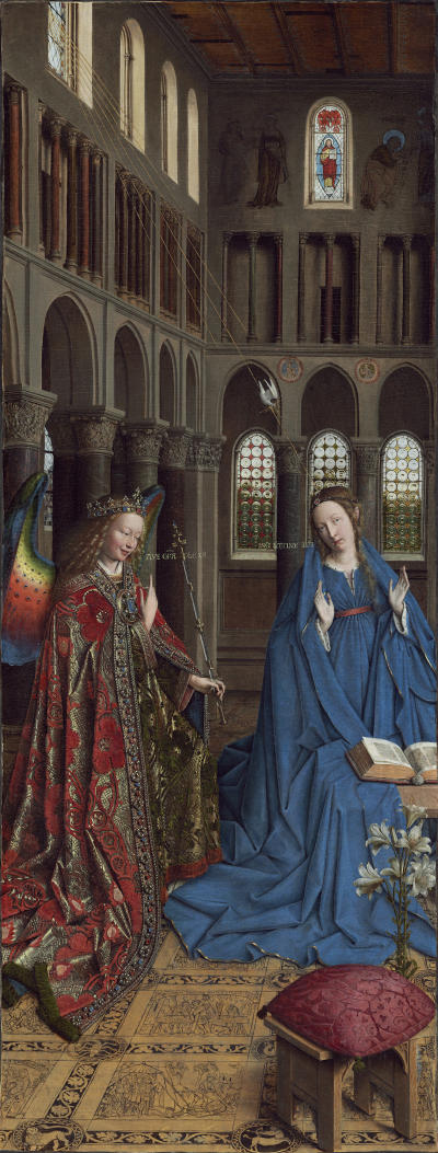 Jan van Eyck (Netherlandish, c. 1390 - 1441 ), The Annunciation, c. 1434/1436, oil on canvas transferred from panel, Andrew W. Mellon Collection