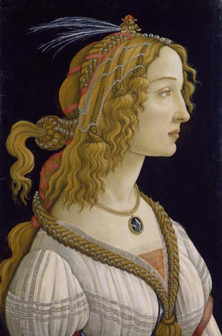 Weibliches Idealbildnis, angeblich der Simonetta Vespucci. Um 1480