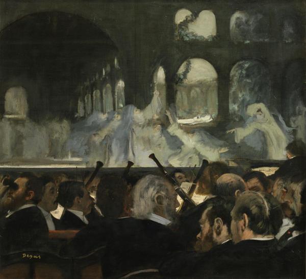 "CAI.19 Oil painting The Ballet Scene from Meyerbeer's Opera Robert Le Diable; Oil painting, 'The Ballet Scene from Meyerbeer's Opera ""Robert Le Diable""', Edgar Degas, 1876 Hilaire-Germain Edgar Degas (1834-1917) Paris 1876 Oil on canvas"