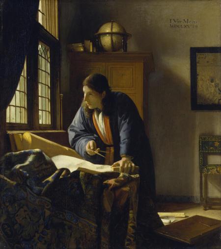 Bildnummer: 20919 Künstler: Vermeer van Delft, Jan,1632-1675 Bildtitel: Der Geograph. 1669 Maße: 51,6 x 45,4 cm Technik: Lwd. Standort: Städel Museum, Frankfurt am Main Fotograf: © Städel Museum - ARTOTHEK