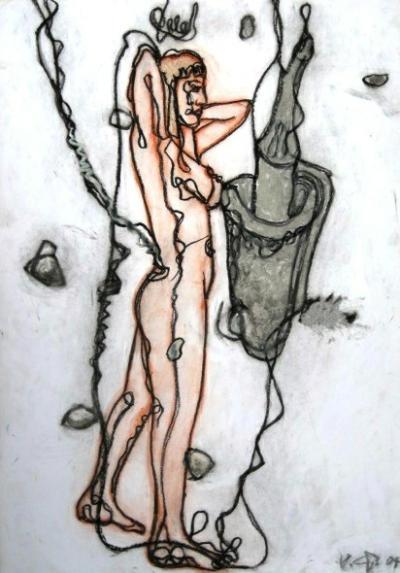 Serpentina in Dresden I, 42 x 59 cm, Kreide auf Papier-400