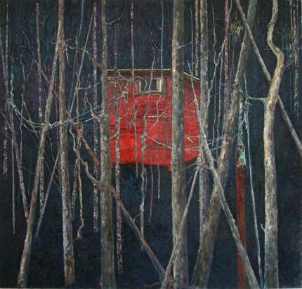 o.T. (Hütte letzte Version) Öl auf LW - 100 x 100 cm - 2009-2010-430