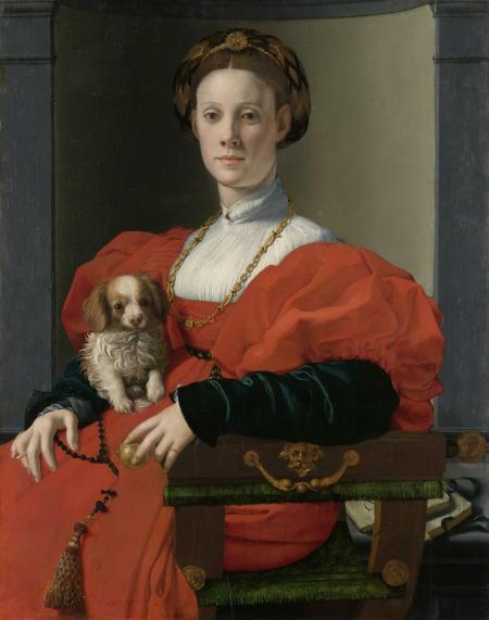 Bildnis einer Dame mit Schoßhündchen. 1537-40