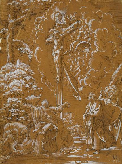 Kreuzigung Christi mit Gottvater und der Taube des Hl. Geistes.