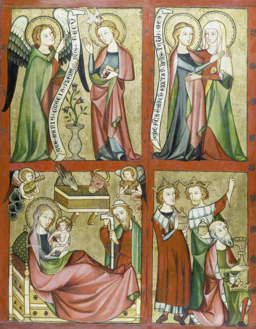 Altenberger Altar (linker Flügel): Verkündigung, Heimsuchung, Geburt Christi, Anbetung der Könige