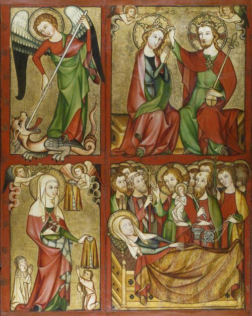 Altenberger Altar (rechter Flügel): Hl. Michael, Marienkrönung, Hl. Elisabeth, Marientod